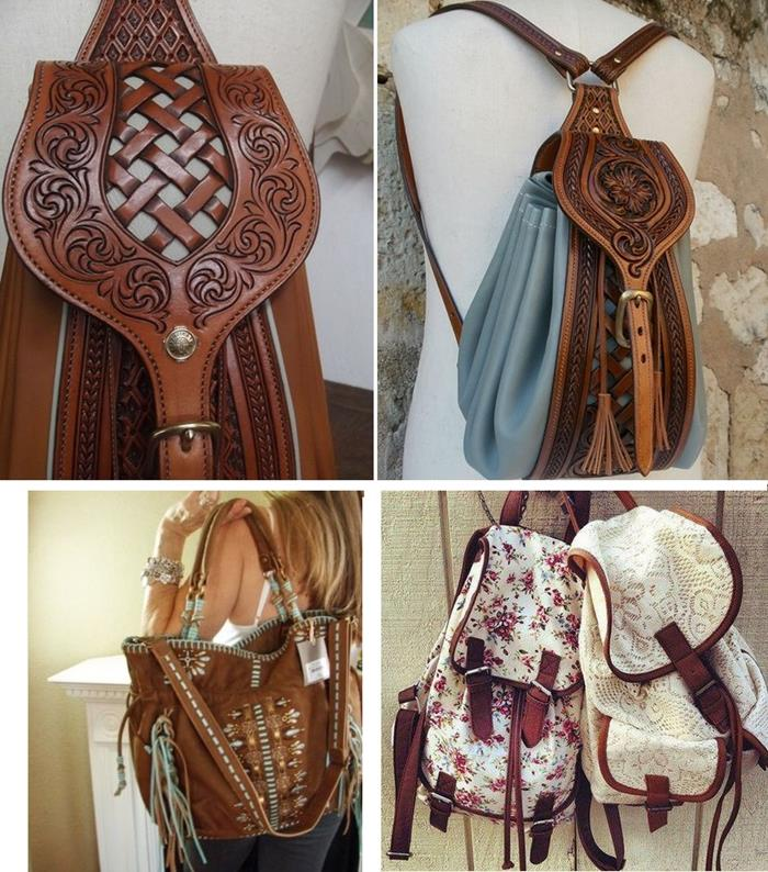 leather backpack in brown, with embroidery and engravings, suede brown embroidered shopper bag, bohemian fashion backpacks, with floral pattern and white lace