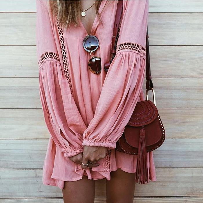 pastel pink tunic, with long sleeves, featuring mesh details, boho clothing, retro sunglasses, burgundy suede shoulder bag with tassels