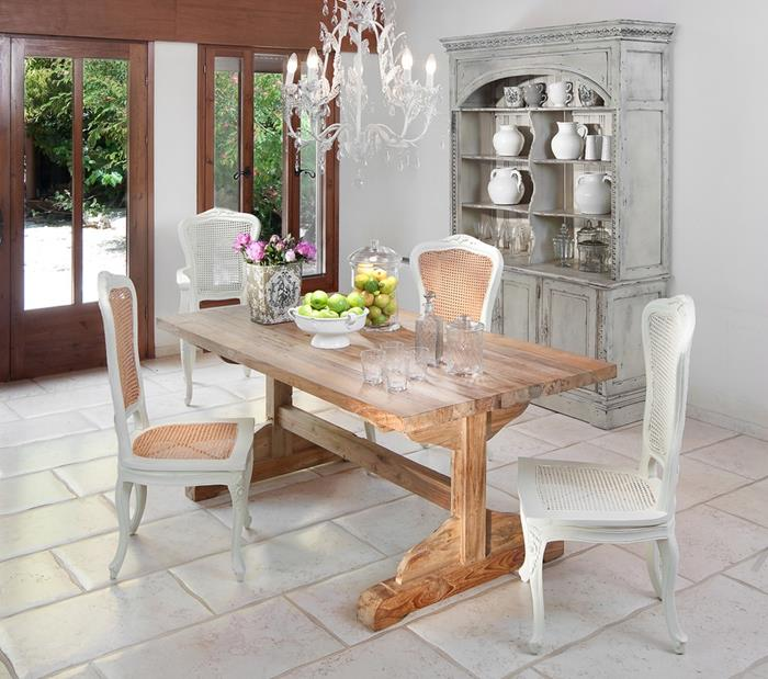 natural wooden table, with four mismatched chairs, in cream and white, grey shabby dresser, shabby chic furniture, ornate crystal chandelier