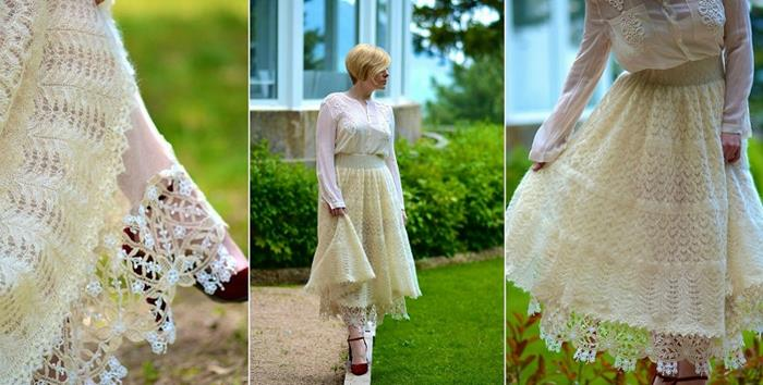 skirt made of cream-colored lace, worn with calf-length lacy underskirt, white embroidered shirt, and strappy burgundy heels, bohemian style clothing