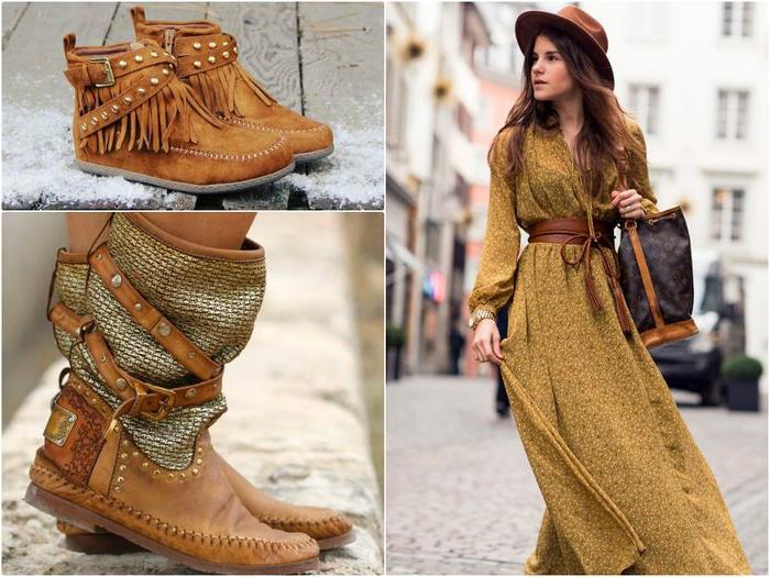 moccasin style ankle and calf boots, made from soft suede, with metal studs, leather straps and embossing, young brunette woman, in mustard yellow patterned maxi dress, boho clothing, with wide leather belt, felt hat and large bag
