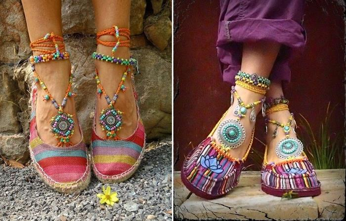 bohemian fashion espadrille shoes, one pair features pastel stripes, and straps with colorful beads, other pair has multicolored stripes, and a lotus aplique detail