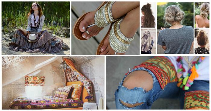 bohemian style clothing and aesthetic, in nine examples, tiered maxi skirt, beaded sandals and torn jeans, with colorful patches, bohemian hairstyles and room decor