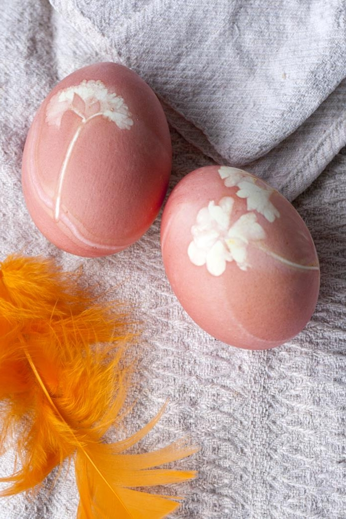 bright orange feather, near two eggs dyed in pale pastel orange, with white flower prints, easter egg coloring ideas to try at home