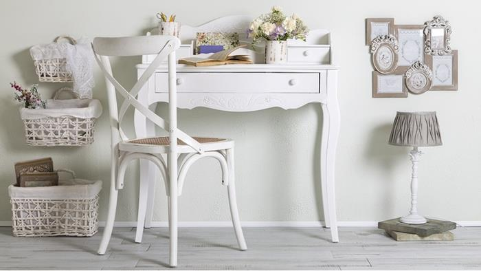 working desk in antique french style, with drawer and painted in white, matching white chair, country cottage furniture, storage baskets and decorative frames