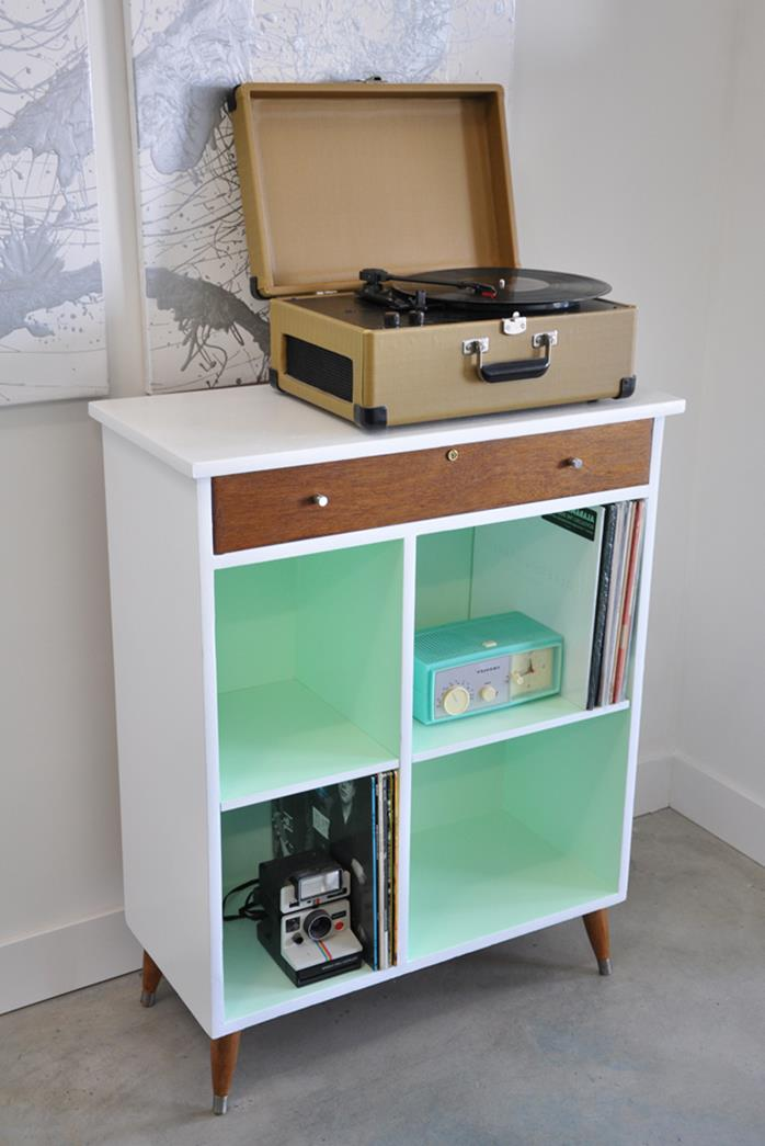 record player in a vintage suitcase, placed on retro cabinet, repainted white and brown, and pale turquoise, shabby sheek interior