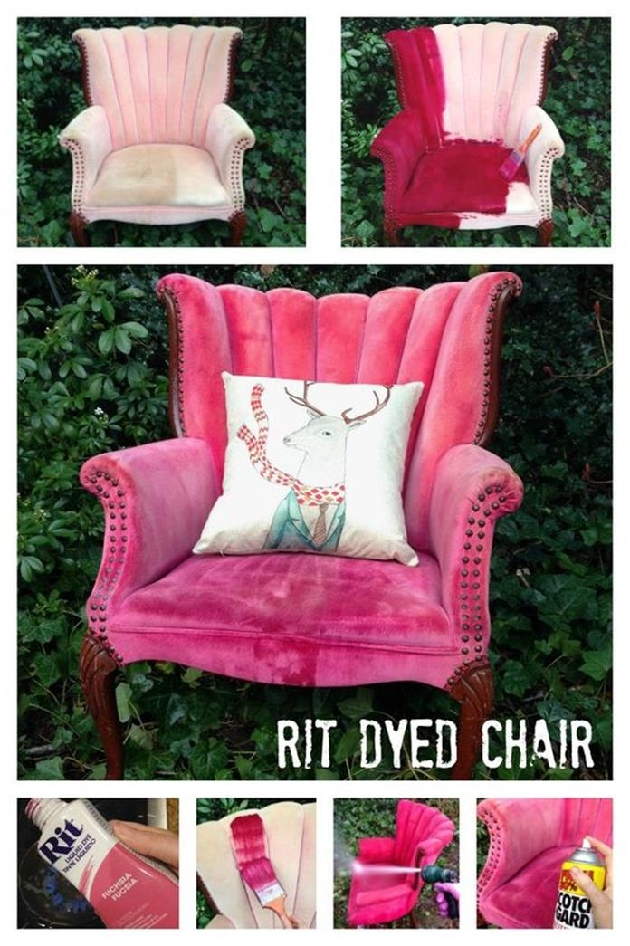 tutorial showing how to repaint old armchairs, in seven steps, pale pink worn armchair, transformed into fuchsia armchair, with reindeer print cushion