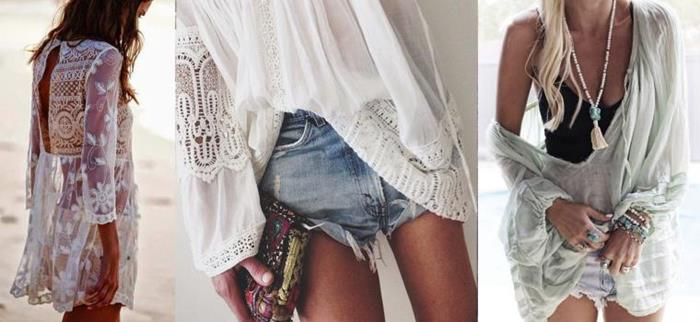 bohemian fashion, featuring an embroidered tunic, made of white lace, a wide white blouse with embroidery, an oversized slouchy top