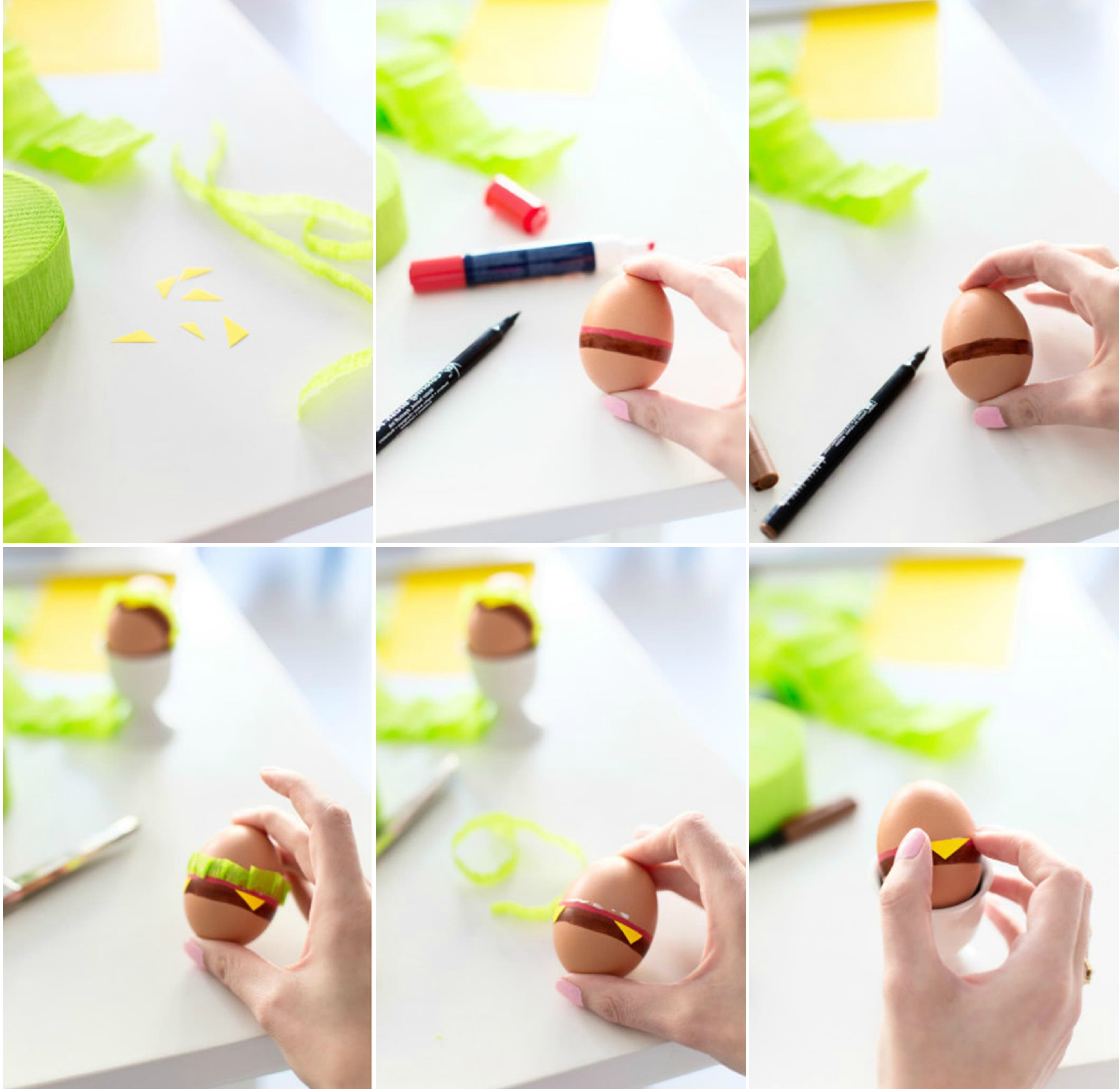 step by step photo tutorial for dying easter eggs, explaining how to paint an egg with markers, and decorate it with pieces of green and yellow paper, to make it look like a hamburger