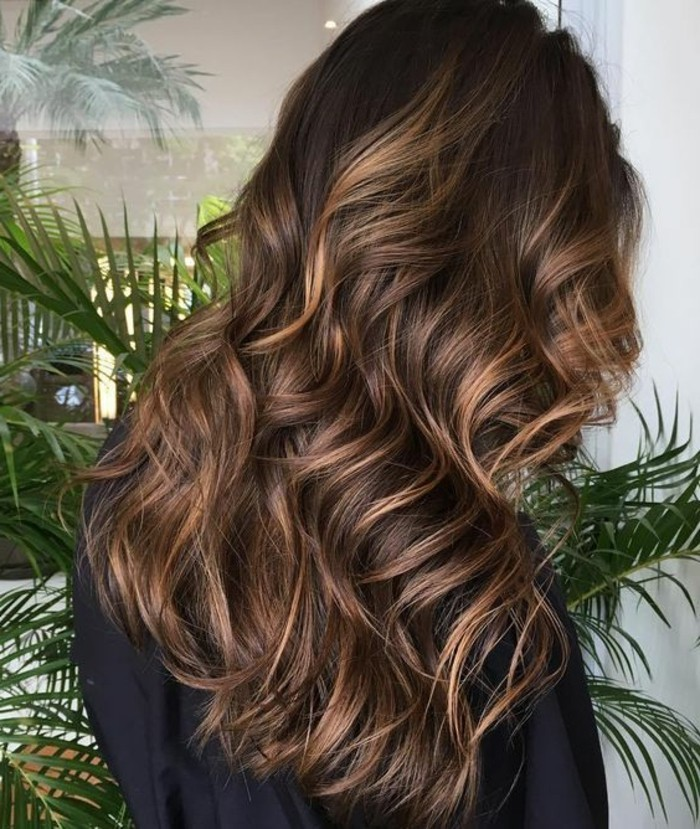 honey blonde highlights, in dark brown curled hair, brunette hair colors, worn by woman in black top or robe, green ferns in background