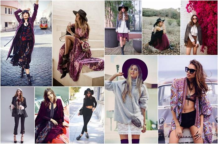clothing suggestions for boho fans, patterned maxi skirts and dresses, wide-brimmed felt hats, long ornamental cardigans, suede and lace