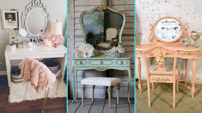 antique and vintage inspired vanities, in off-white, turquoise and peach, with various ornaments and decorations, vintage chic aesthetic