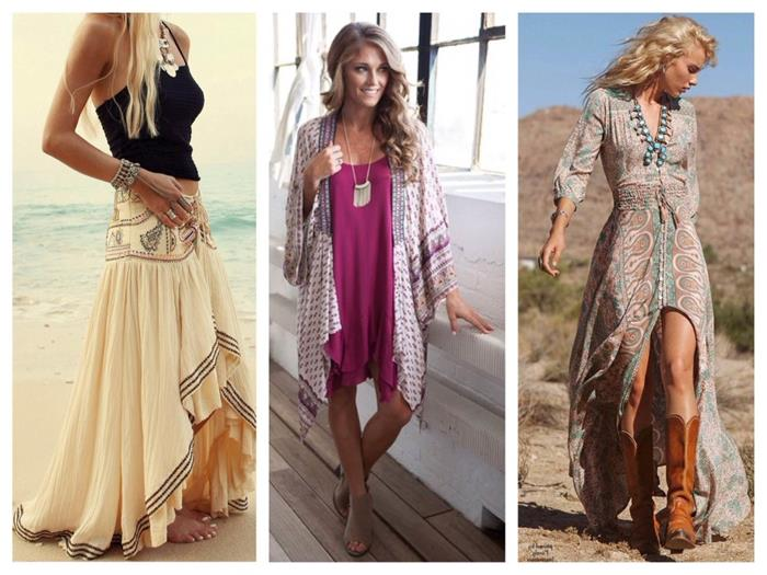asymmetrical cream maxi dress, with folk embroidery, hot pink mini dress, with oriental patterned cardigan, maxi dress with pale print and cowboy boots