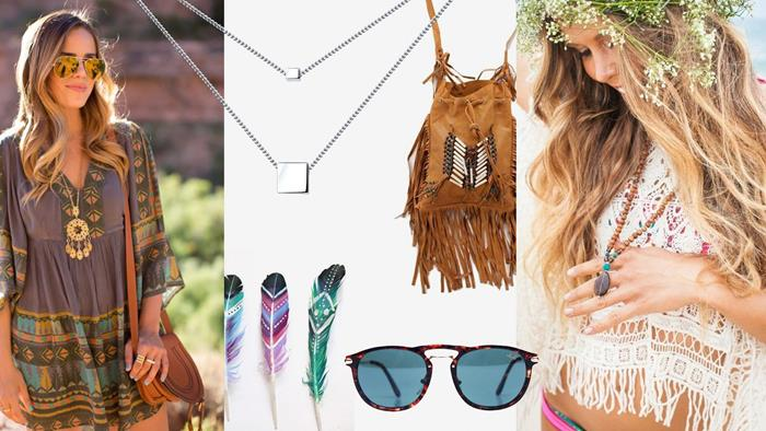 grey tunic with turquoise, and orange pattern, two minimalist square silver pendants, three painted feathers, retro sunglasses and a suede tasseled bag, blonde girl in boho clothing