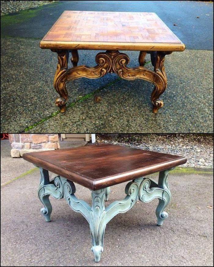 square antique shabby chic table, before and after it has been repainted, with dark brown and pale blue paint