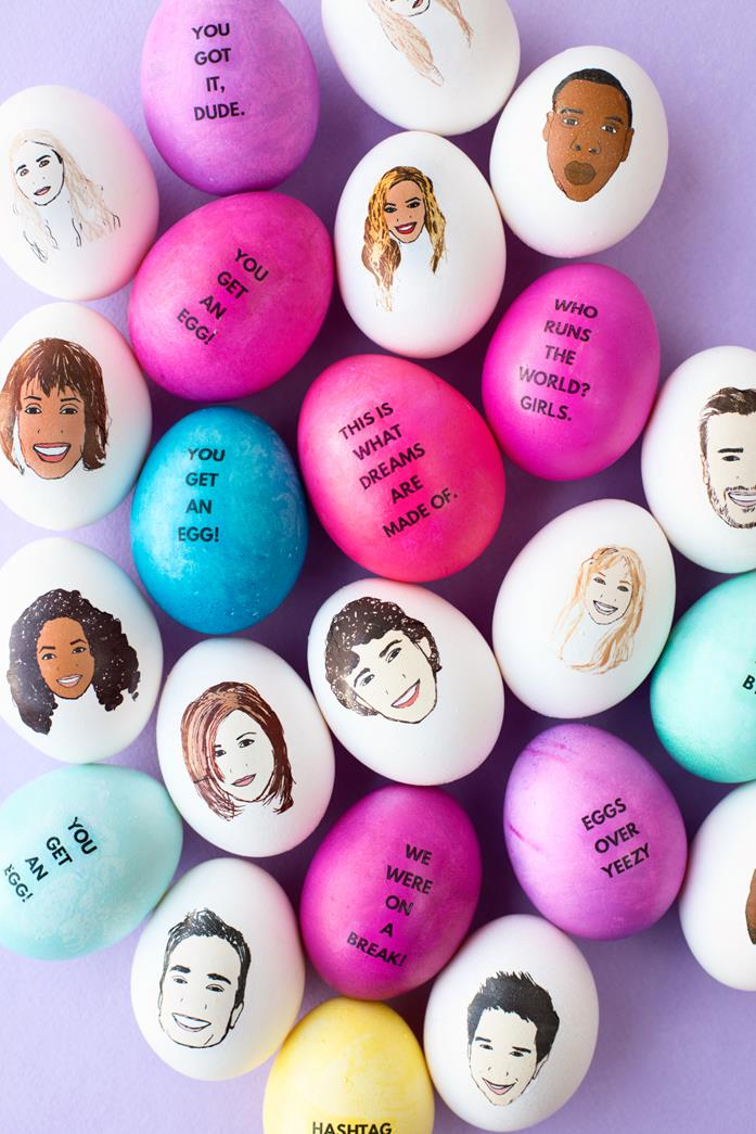celebrities cartoons painted on white eggs, whitney houston and oprah winfrey, kanye west and justin timberlake, beyonce and jennifer aniston, other eggs are painted in pink, blue and yellow, and feature quotes