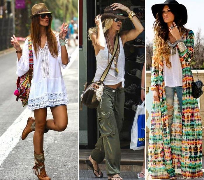 summery white mini dress, with boots and hat, khaki green cargo pants and white tank top, ripped jeans and plain top, with multicolored oversized cardigan