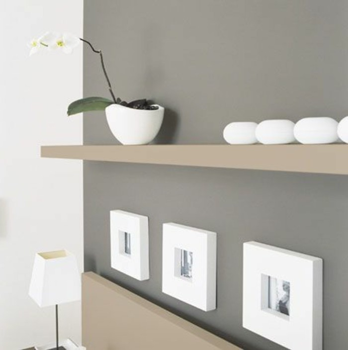 white orchid in ceramic pot, on beige shelve, with white decorations, dark grey and white walls, living room paint colors, framed photos and white lamp