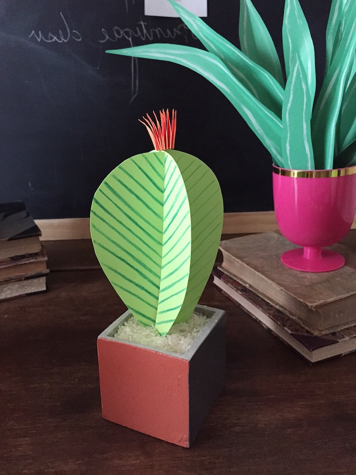 cactus made from light green paper, with dark green hand-drawn decorations, orange flower detail, good mothers day gifts, inside brownish-red planter