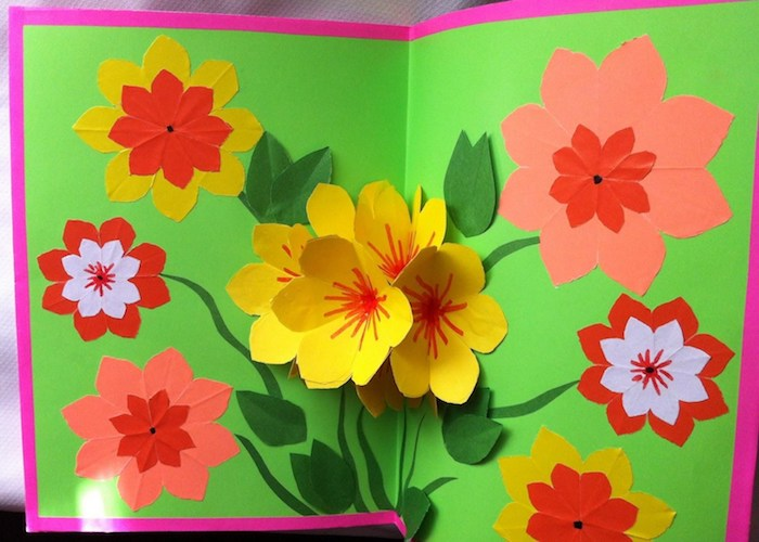 purple and green card, last minute mother's day gift ideas, with 3D effect, popping paper flowers, in yellow and orange, flat flowers in red, pink and white