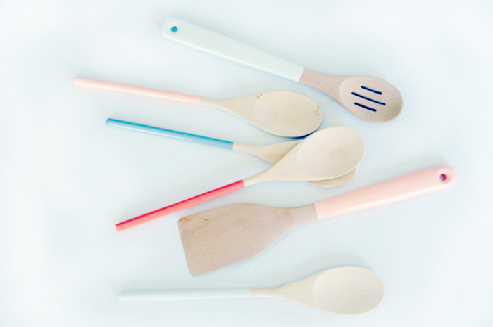 six cooking spoons and spatulas, mother's day gifts for grandma, made from light wood, handles dipped in red, pale pink and blue paint