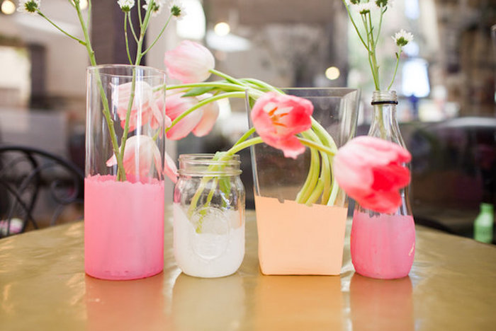 last minute mother's day gift ideas, four dip-dyed flower vases, in pink and white and peach, made from two clear glass containers, used mason jar and bottle