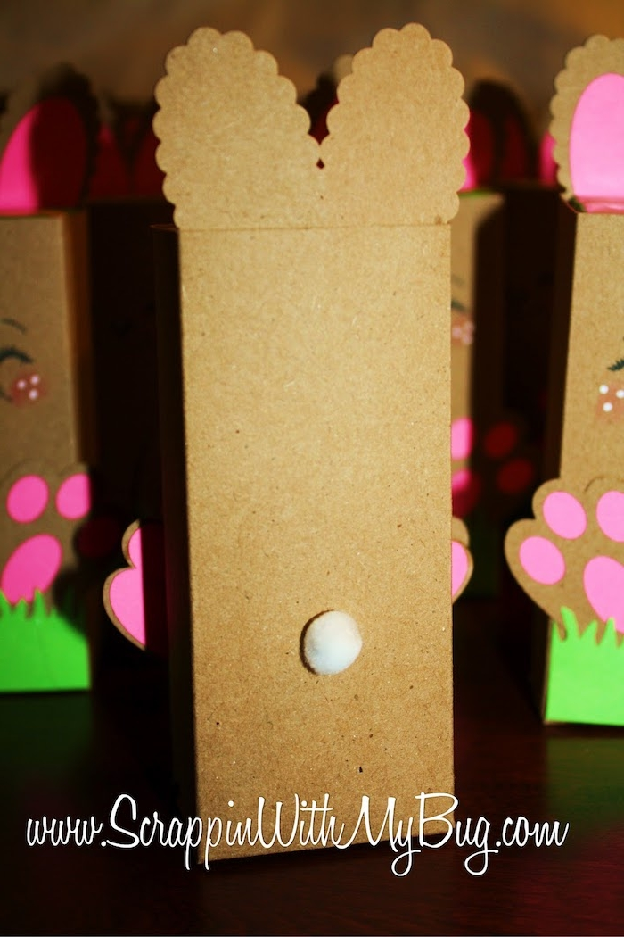 small and cute, white cotton tail, on juice box, easter crafts for adults, covered in brown card, and made to look like a bunny