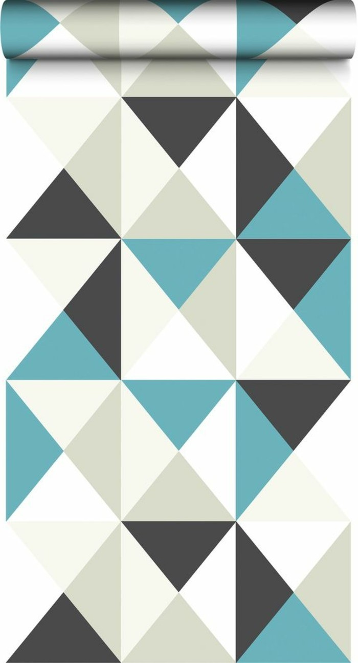 teal and light beige, white and dark gray kitchen wallpaper, rolled like a carpet, pattern featuring many triangles