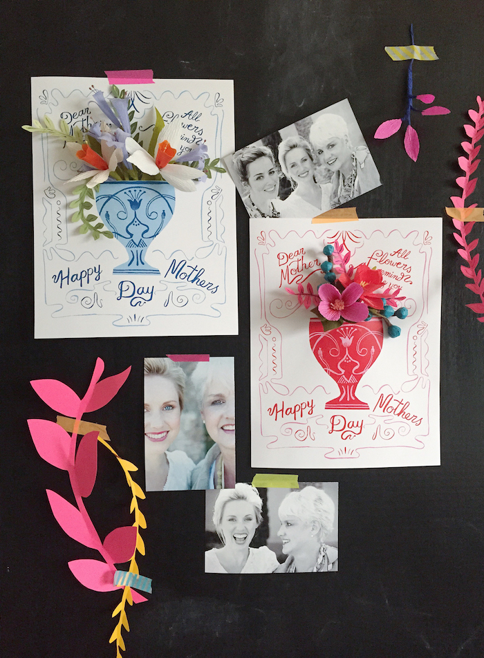 mothers day gifts, two handmade cards, decorated with paper art flowers, on black board, with three photos, showing mother and daughters, and paper decorations