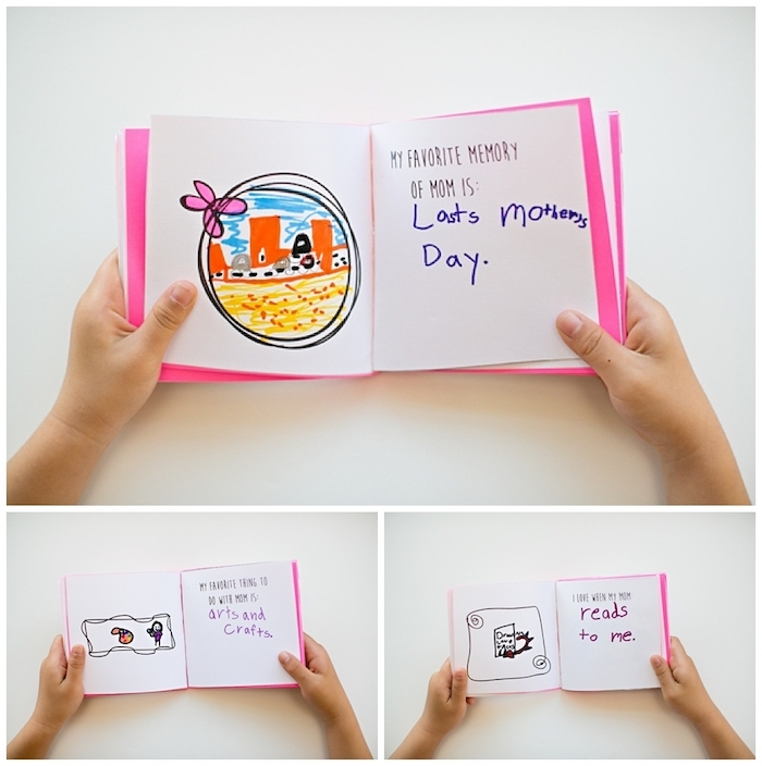 top 10 mother's day gift ideas, child's hands holding a booklet, in white and pink, opened to reveal drawings and text