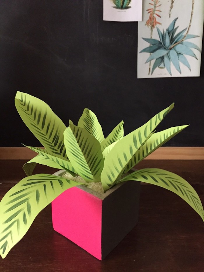fake indoor plant, made from light green paper, with dark green hand-drawn details, good mothers day gifts, inside pink planter, filled with rice