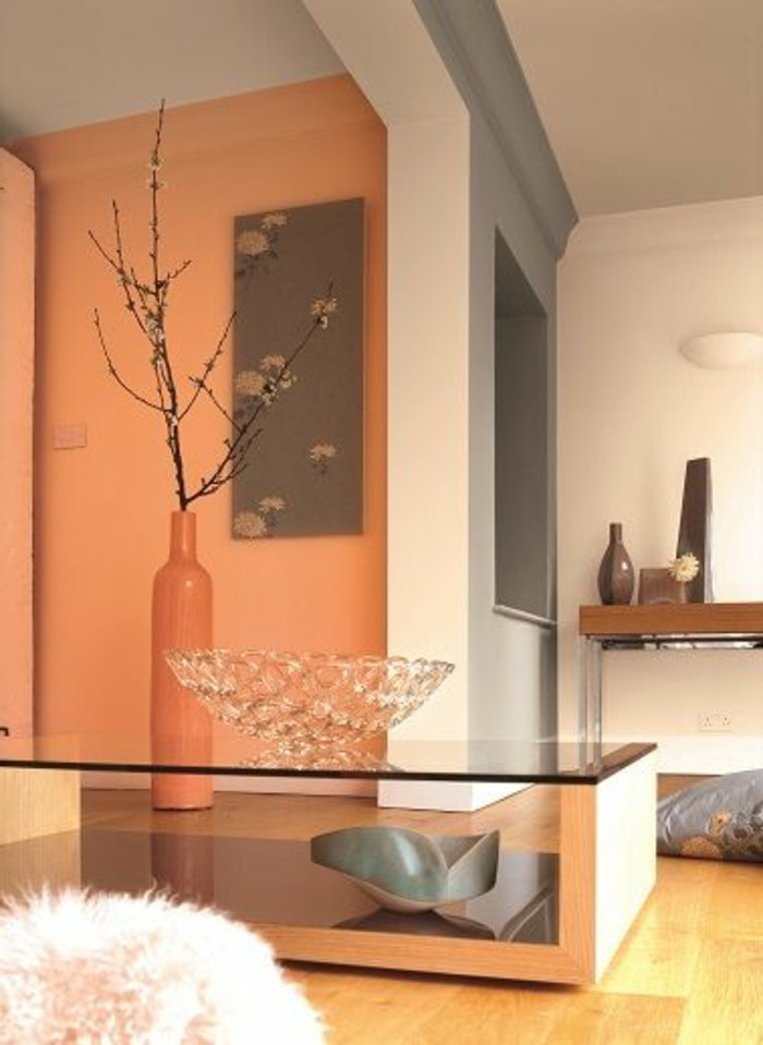 Orange And White Grey Walls Inside Room With Light Laminate Flooring Living
