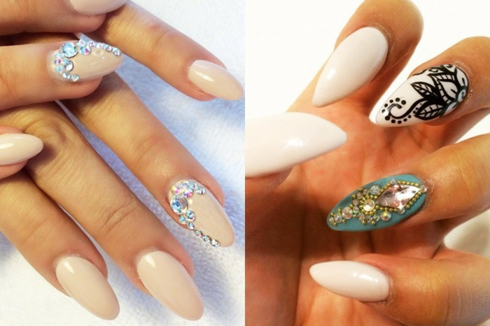 cream-colored oval nails, decorated with iridescent, silver rhinestone decals, next image shows white, and turquoise manicure, with black details, and sparkly gem stickers