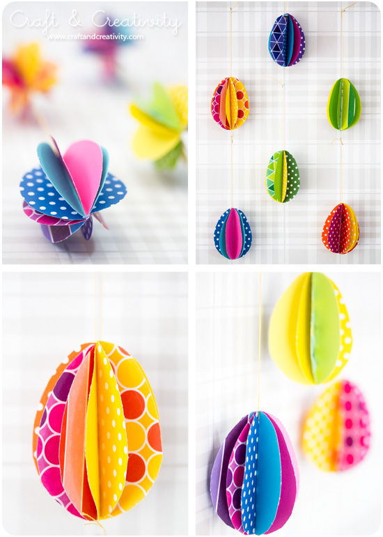 multicolored egg decorations, made from patterned paper, in different colors, folded and stuck together, easter crafts for adults, hanging from string
