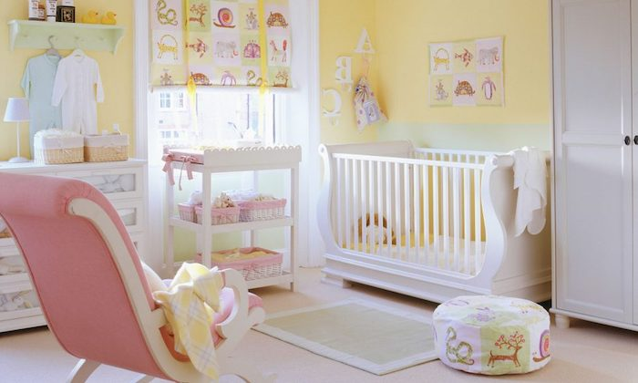girl nursery themes, pastel pink and yellow baby's room, with white furniture, and pale pastel green details, rocking chair and clothes