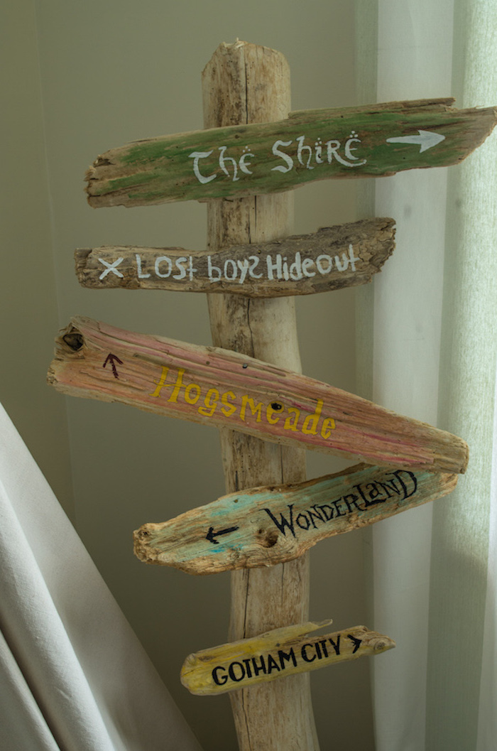 close up of a wooden pole, with five wooden planks nailed to it, baby nursery ideas, some are colored with a splash of paint, all bear the names of imaginary places, with little arrows