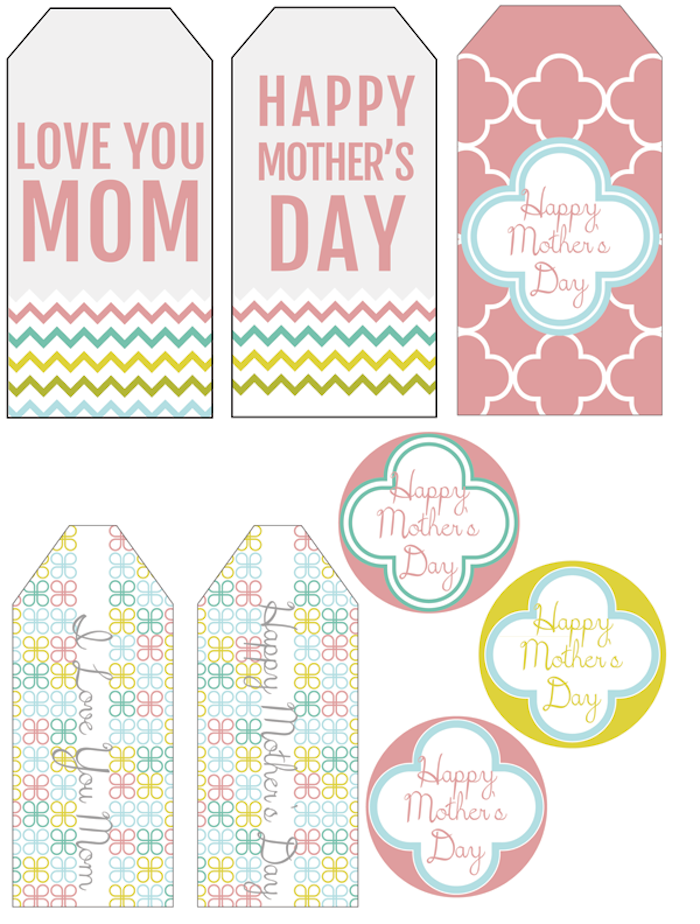 labels for mothers day, which you can print, in different colors and shapes, with floral and zigzag patterns,