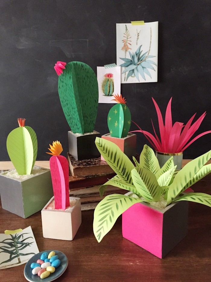 good mothers day gifts, paper craft plants, different cacti and indoor plants, made from green paper, in different shades of green and pink
