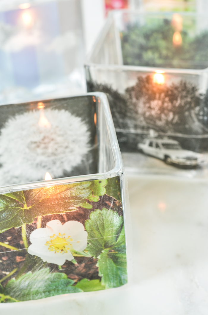 mother's day gifts for grandma, glass candle holders, decorated with photos, and containing small lit candles