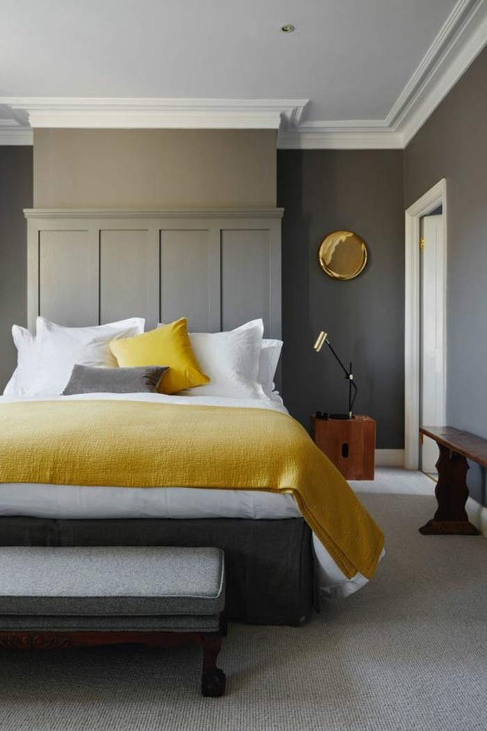 1001 ideas for colors that go with gray walls 18502 | yellow white and gray color palette inside a minimalistic bedroom colors that go with gray walls white door and ceiling