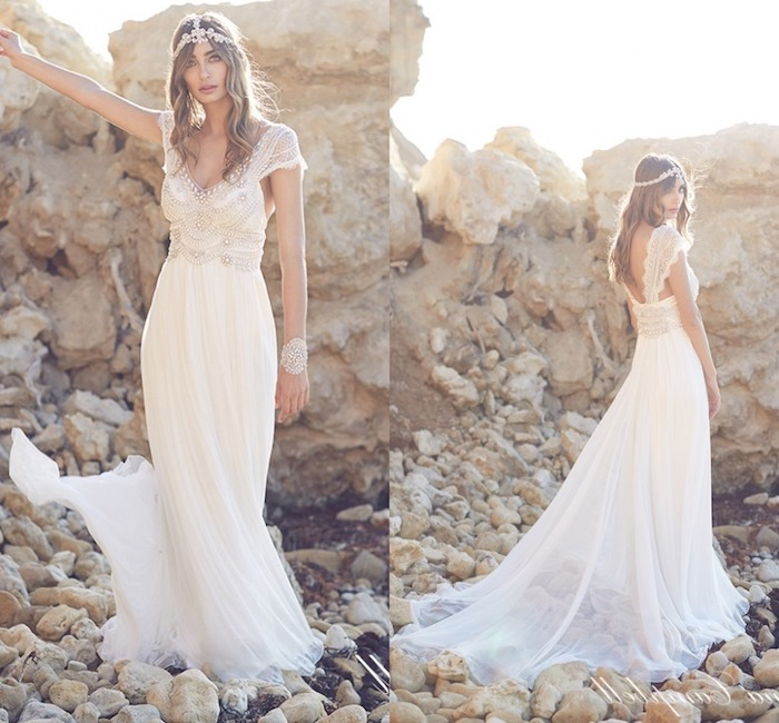 art deco style gown, 1920's vintage look, with beads and embroidery, lace cap sleeves and a floaty skirt, seen from two different angles, wedding dresses for beach wedding