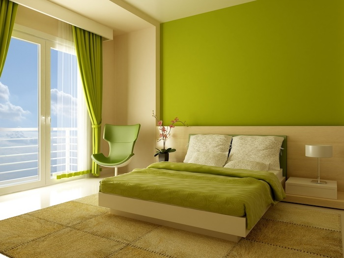 bright green and cream color scheme, inside a room with double bed, acid green wall, and double window with matching curtains, wall decor ideas, modern chair and olive green carpet