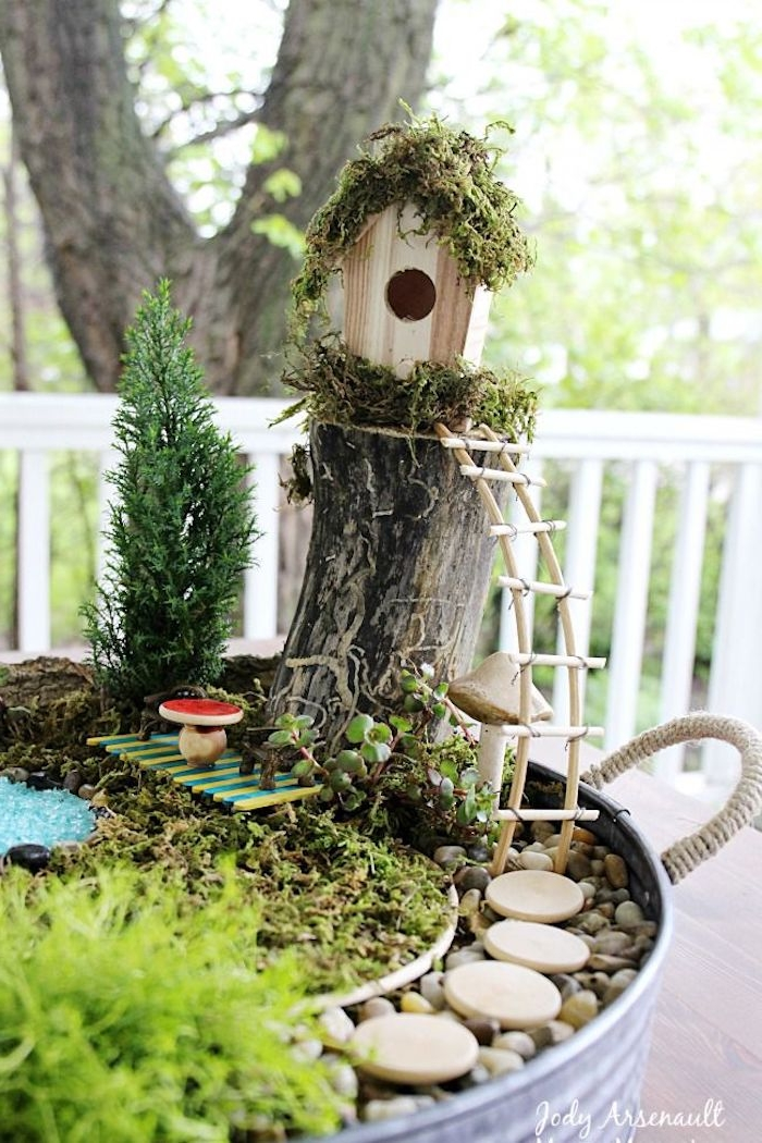 moss-covered birdhouse, with tiny ladder, decorating a small garden, fairy garden images, inside a metal bucket, containing pebbles and moss, several small green plants
