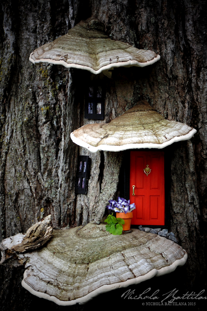 red door with golden knocker and handle, two windows and flower pot with artificial flowers, all of miniature size, , diy fairy house, stuck on a tree with large tree fungi