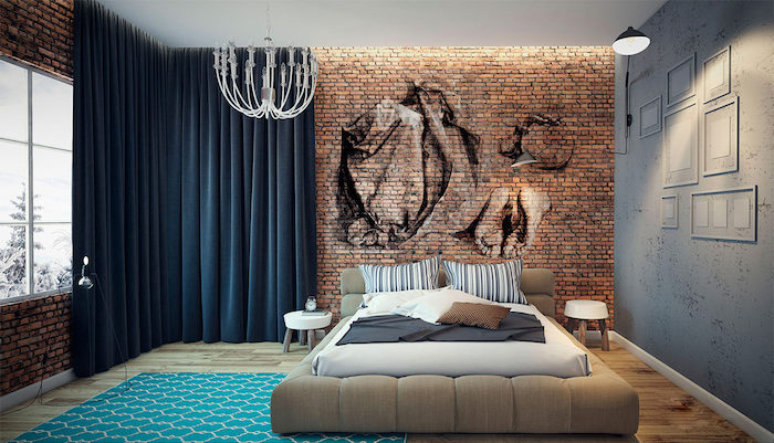 realistic drawings in black and white, done on a brick wall, in a room with laminate floor, dark blue blackout curtains, master bedroom ideas, white decorative chandelier