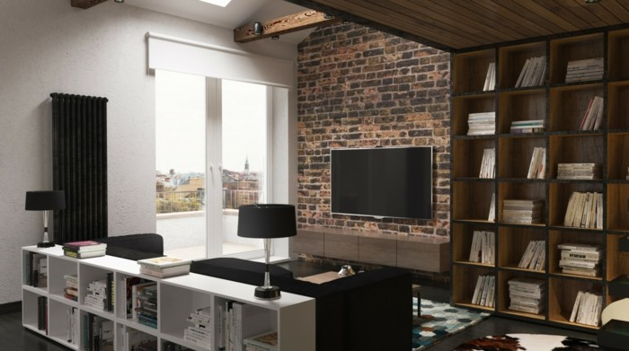 brown and white wooden library shelves, inside room with one brick wall, black sofa and lamp, multicolored rug on the floor, and wooden beams on the ceiling, small apartment living room ideas