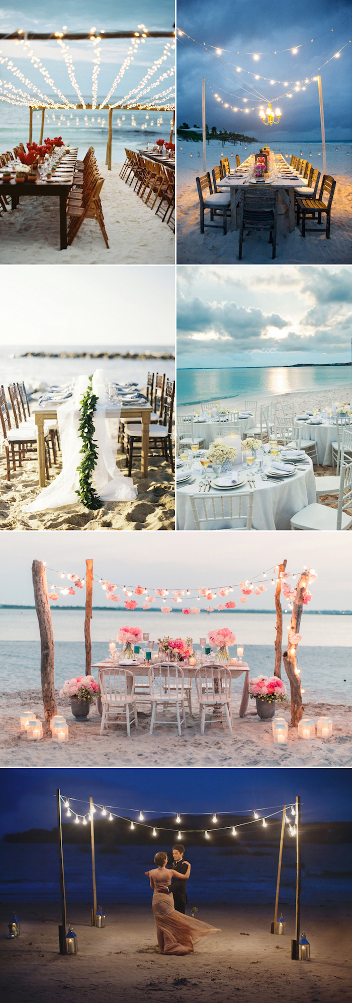 sunset and dusk weddings, six different setups, string lights and flowers, tables and chairs, one couple dancing, florida destination weddings on the beach