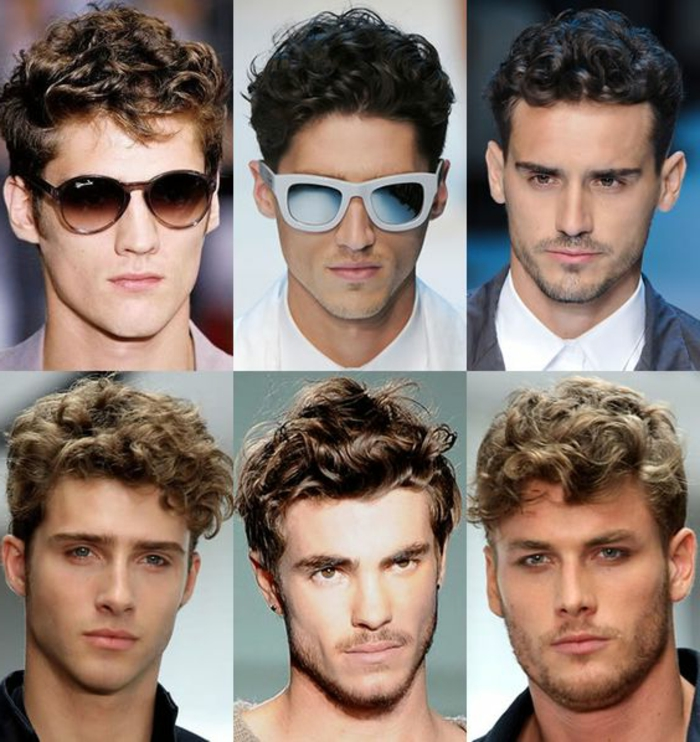 another six examples of haircuts for curly hair, worn by blonde and brunette men, some are wearing sunglasses, some with stubble, others clear shaven