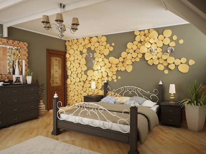 Slices Of Lumber In Pale Yellow Decorating A Gray Wall Inside Bedroom With
