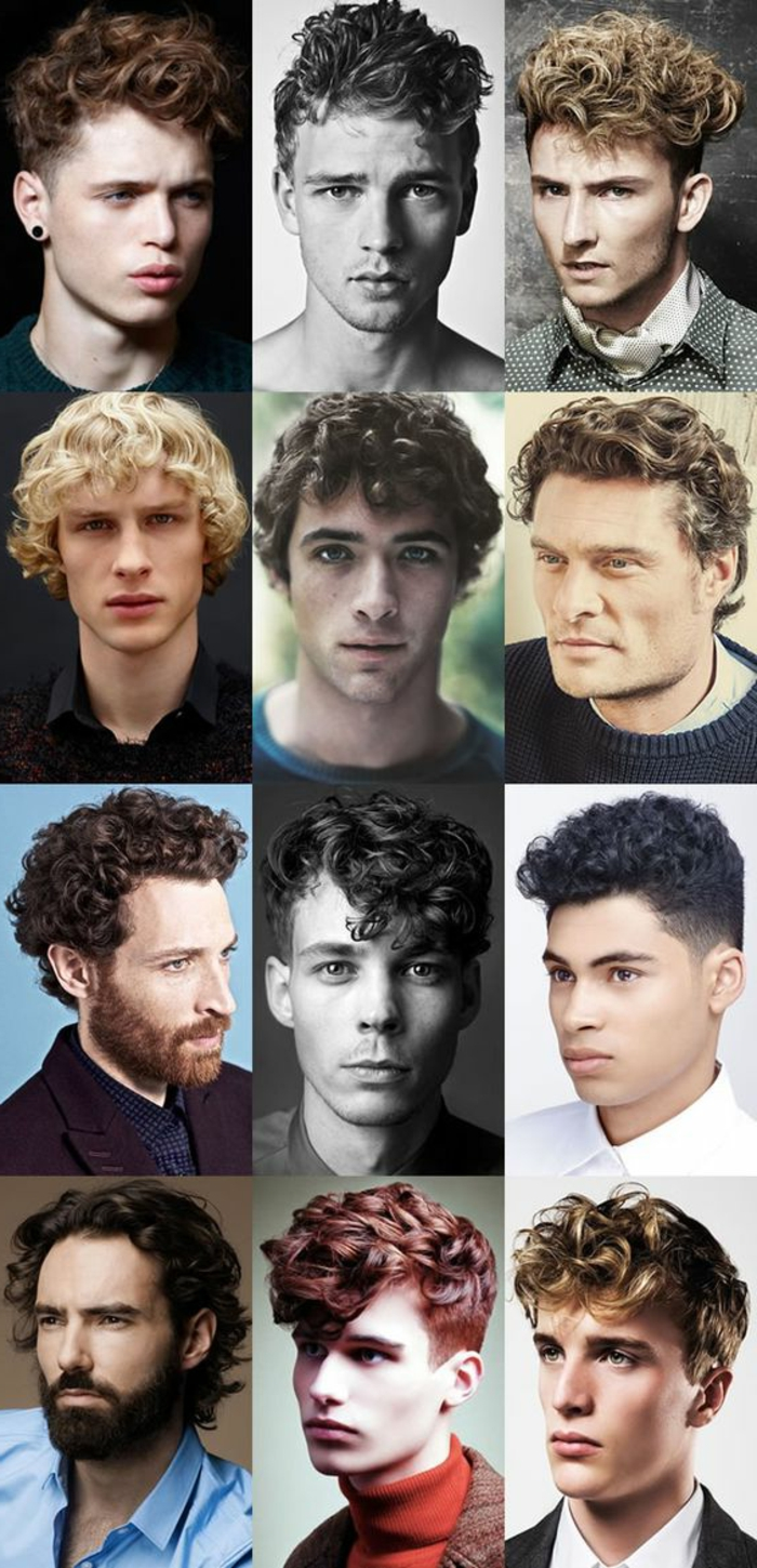 different hairstyles for short curly hair, in twelve examples, black and brunette, red and blonde, very short and medium length